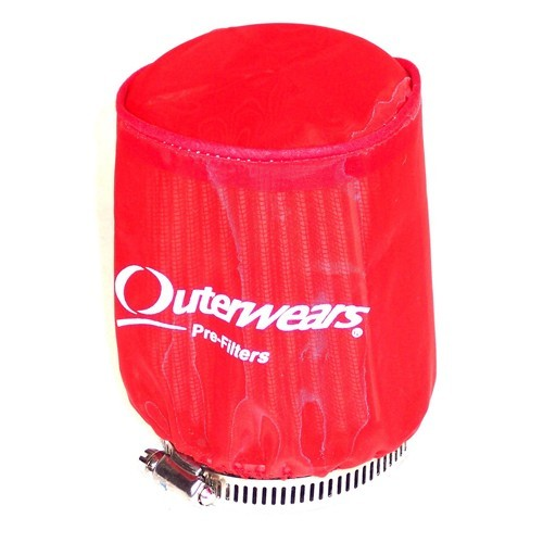 "Outerwear Pre-Filter, 3.5"" To 3"" Taper, 4"" Tall, Red"