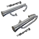 Megadual Exhaust, With Inserts, For Single Carb, Ceramic