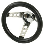 "Steering Wheel, 10"" Diameter, 5"" Dish, 3 Spoke, 3 Bolt"