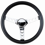 "Steering Wheel, 12-1/2"" Diameter, 3"" Dish, 3 Spoke, 3 Bolt"