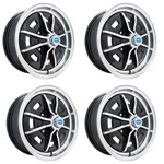 "Sprintstar Wheels Black With Polished Lip 5"" Wide 4 on 130mm"