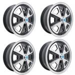 "914 Alloy Wheels, 5-1/2"" Wide, Black & Polished, 4 on 130mm"