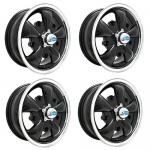 """Gt-5 Wheels Black With Polished Lip, 5.5"""" Wide, 5 on 205mm"""