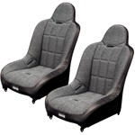 Off-Road Suspension Seats, Black Vinyl With Tweed Inner