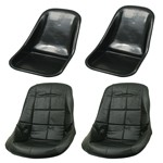 Low Back Seat Shells, Impact Plastic, With Black Covers Pair