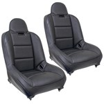 Off-Road Suspension Seats, Black Vinly With Carbon Fiber