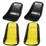 Low Back Seat Shells, Impact Plastic With Yellow Covers Pair