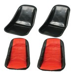 Low Back Seat Shells, Impact Plastic With Red Covers Pair
