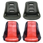Low Back Poly Seat Shells, With Black & Red Seat Cover