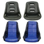 Low Back Poly Seat Shells, With Black & Blue Seat Cover