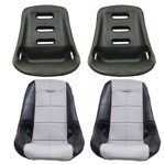 Low Back Poly Seat Shells, With Black & Grey Seat Cover