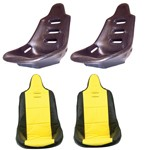 High Back Poly Seat Shells, With Yellow Covers