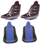 High Back Poly Seat Shells, With Blue Covers